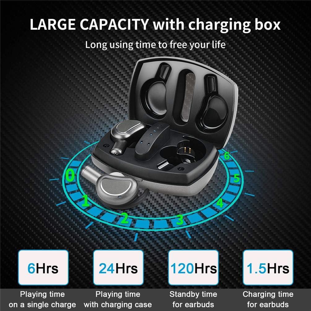 TWS Bluetooth 5.0 Wireless Earbuds Headset KLUSIYA True Wireless Earphones for iPhone Samsung IPX7 Waterproof Smart Bluetooth Headphones Headsets with Patented Intelligent Charging case