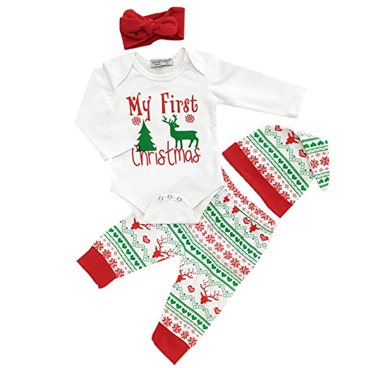 cd3ec0f11 Amazon.com  4Pcs My First Christmas Long Sleeve Clothing Toddler ...