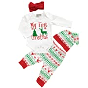 4Pcs My First Christmas Long Sleeve Clothing Toddler Baby Boys Girls Outfits Deer Letter Print Rompers Clothes Set(70/0-3 Months) White