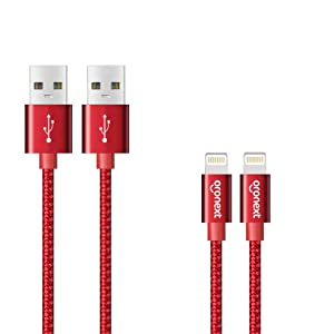 iPhone Cable, ORONEXT Lightning Cable, Nylon Braided Cord to USB, Charging Cable, iPhone Charger for iPhone X 8 7 6 6s / Plus 5 5s 5c / Beats by Dre/iPad Air/Mini/Pro - 2 Pack - 6 ft - Red