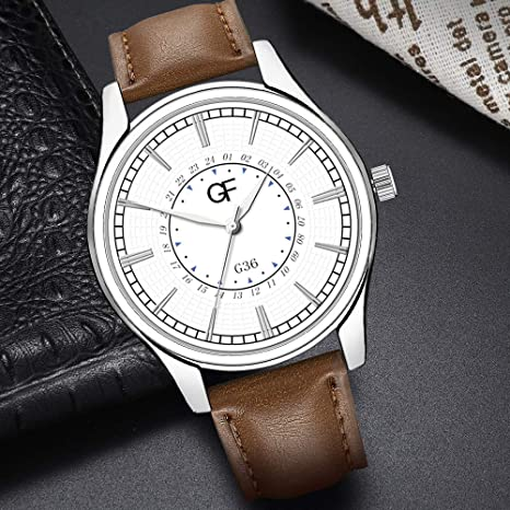 Amazon.com : XBKPLO Quartz Watches Mens Analog Wrist Watch Pointer Light Simple Retro Leather Band Temperament Strap Watch Jewelry Gift : Pet Supplies