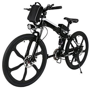 begorey Bicicleta de Montaña Electrica 26 Pulgadas 27 Velocidad Plegable Eléctrica Energía con Batería de Lon