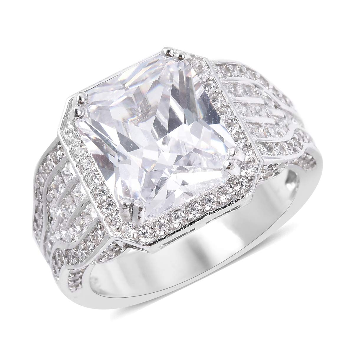 Promise Ring 925 Sterling Silver Octagon White Cubic Zirconia CZ Jewelry for Women Size 7 Ct 8.1 by Shop LC Delivering Joy