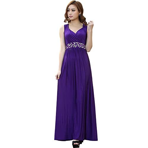 Medeshe Womens Cadbury Purple Floor Length Bridesmaid Dress Party Maxi Dress