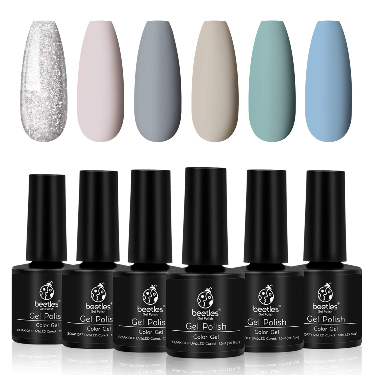 Beetles Cold Glitter Gel Nail Polish Set - 6 Nude Gel Polish Kit Cool Nude Series Nail Polish Gel Nail Kit Nail Art Gift Box, Soak Off LED UV Nail Lamp 7.3ml Each Bottle Christmas Holiday Gift Set