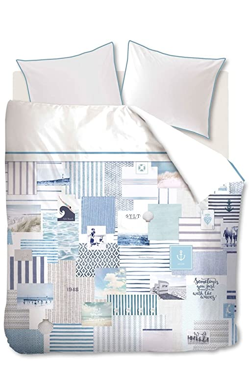 Riviera Maison Bettwäsche Sylt Beach, 100% Baumwolle, Blue, Übergröße,  Größe Bettwäsche