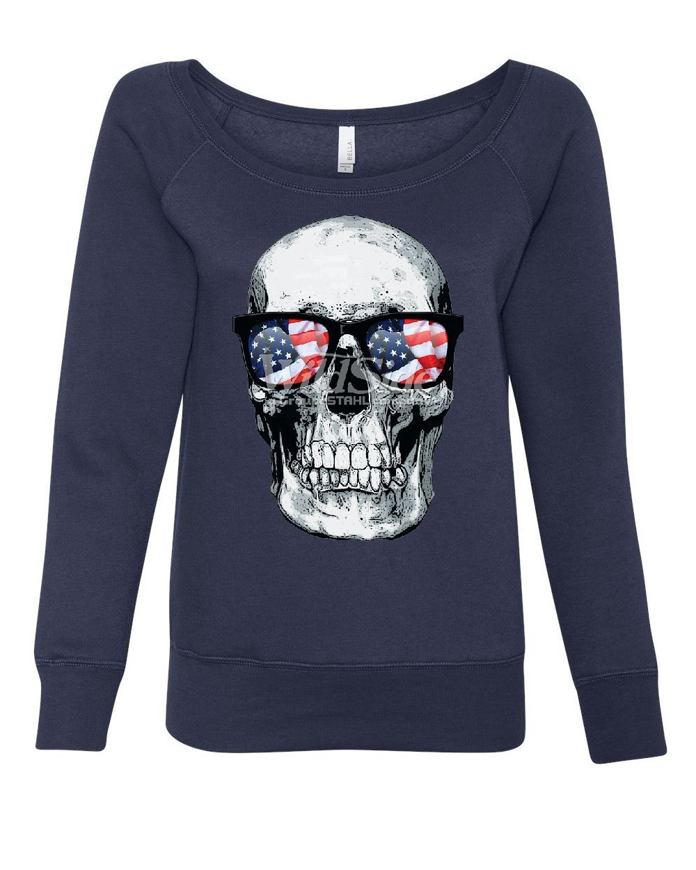 Tee Hunt Skull with Glasses Women's Sweatshirt 4th of July Stars and Stripes Patriot Navy Blue 2XL