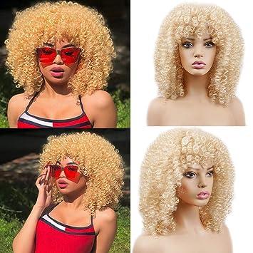 Amazon.com: Pelucas de pelo sintético corto afro rizado para ...