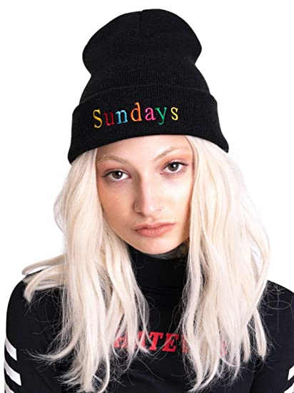 8bb727b07c6 Sundays Beanie Embroidered Hat Cap Tumblr Grunge Rainbow Fashion Fun Knit  Retro Vintage Black at Amazon Women s Clothing store