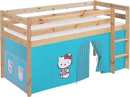 Lilo Kids jelle2054kn de Hello Kitty de T Parte Cama Jelle Hello Kitty, hochbett con Cortina Cuna, Madera, Turquesa, 208 x 98 x 113 cm: Amazon.es: Juguetes y juegos