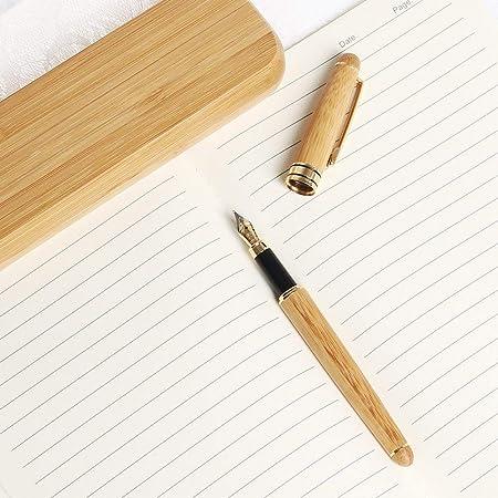 LEEQ Juego de bolígrafos de bambú, 1 Juego de Pluma estilográfica ...