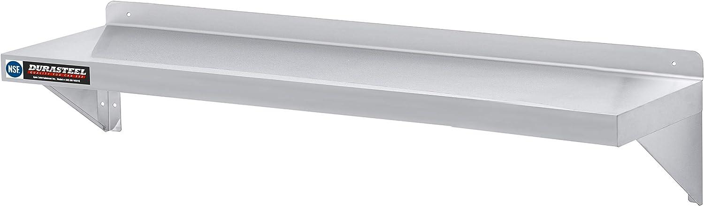 Heavy Duty Stainless Steel Table Lock Wall Shelf 12 x 36 Raised Sides