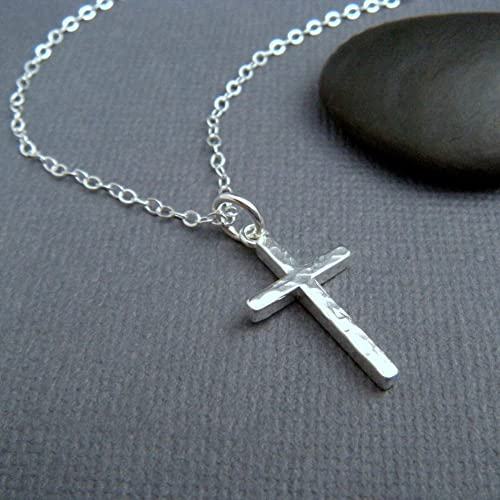 Amazon.com: hammered sterling silver cross necklace. small ...