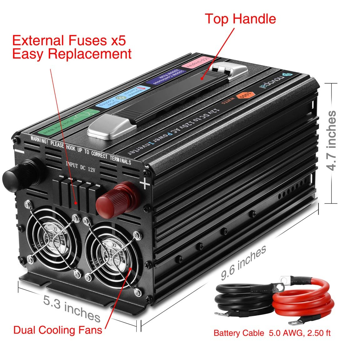 Surge 4000W Big LCD Display Novopal Power Inverter Pure Sine Wave Power Inverter 2000 Watt 3 AC Outlets DC 12v to AC 120v with Remote Control