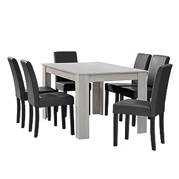 CASA Table Manger Chne Blanc Avec 6 Chaises Gris Fonc Cuir