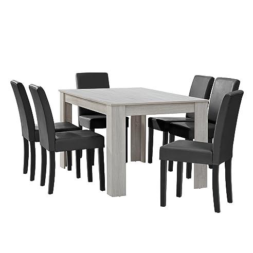 [en.casa] Esstisch Eiche Weiß Mit 6 Stühlen Dunkelgrau Kunstleder  Gepolstert 140x90 Essgruppe
