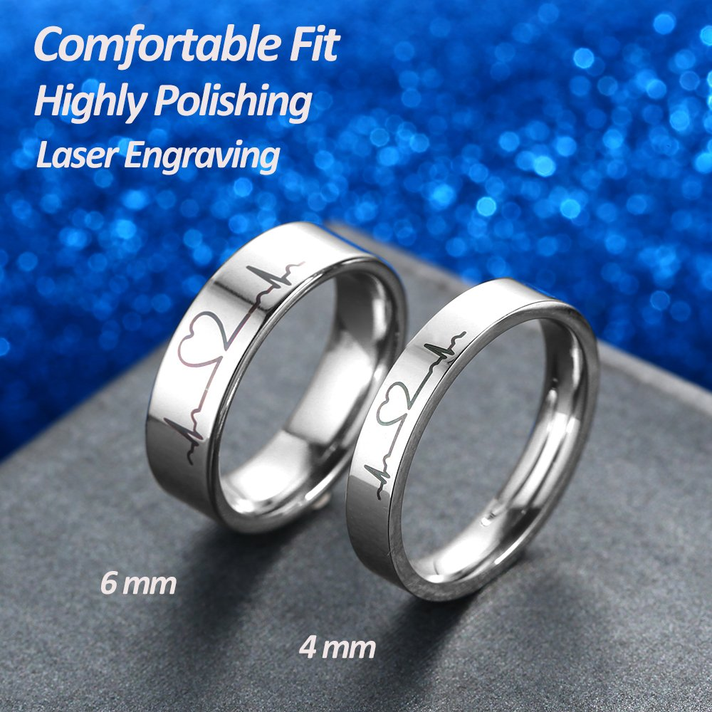GAGAFEEL 6mm Men Women Wedding Ring Heartbeat Titanium High Polished Promise Band Rings Edge Comfort Fit (6mm, 6)