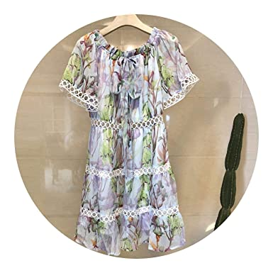 Brand Bohemian Print Floral Chiffon Dress Vestidos Verano Women One Shoulder N9244,Green,S