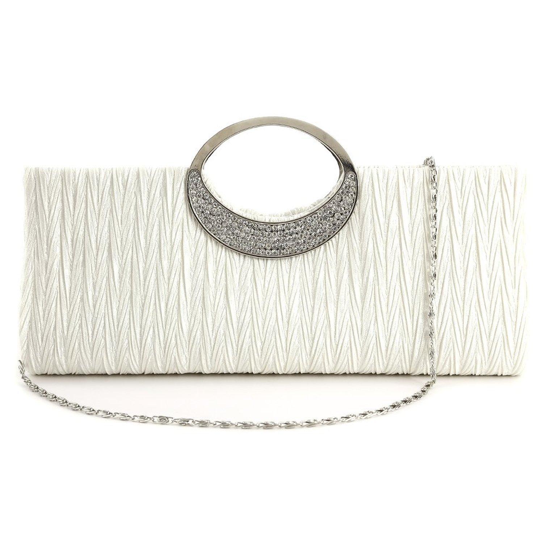 Gleader Sac a main pochette soiree femme diament neuf elegant en satin blanc