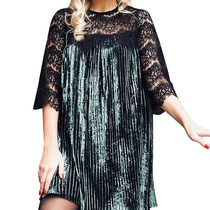 Vovotrade® Vestiti in Pizzo da Donna Mini Abito di Moda in Velluto   Amazon.it  Abbigliamento 2f520542c13