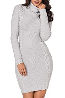 cbf575f840 Meenew Women s High Neck Cable Knit Long Sleeve Bodycon Mini Sweater ...