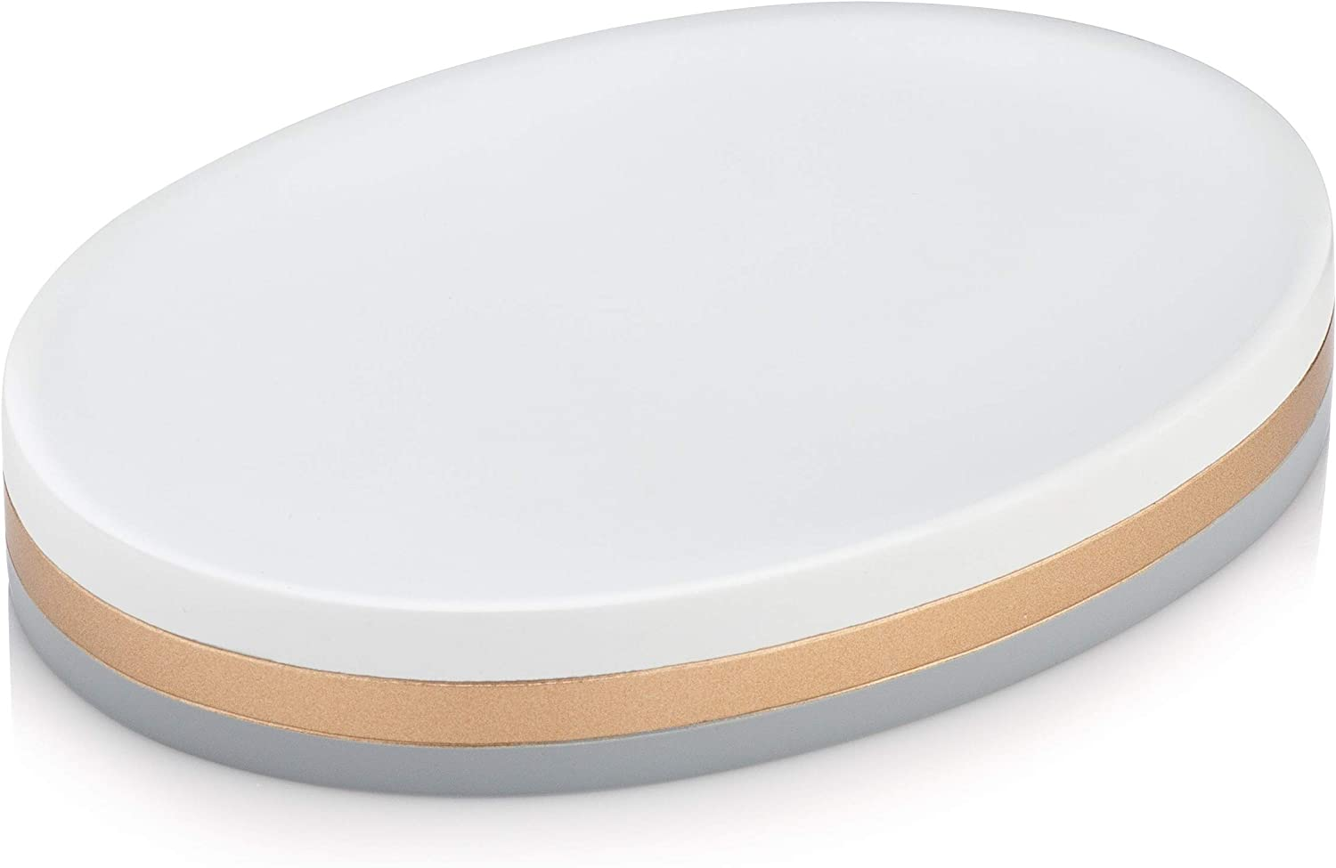 Essentra Home Day and Night Collection White and Grey with Gold Stripe Soap Dish Holder for Bathroom Sink or Shower Also Great for Kitchen