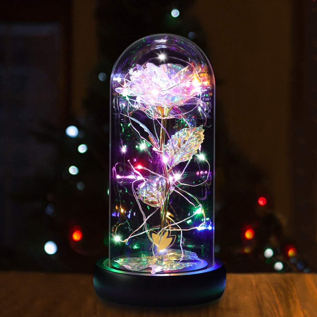 Beauty and The Beast Rose Kit, Galaxy Rose Artificial Colorful Rose Flower, 20 LED Lights in Glass Dome on Wood Base, Warm Light Mode, Fallen Gold Leaves, Home Decor Decorations