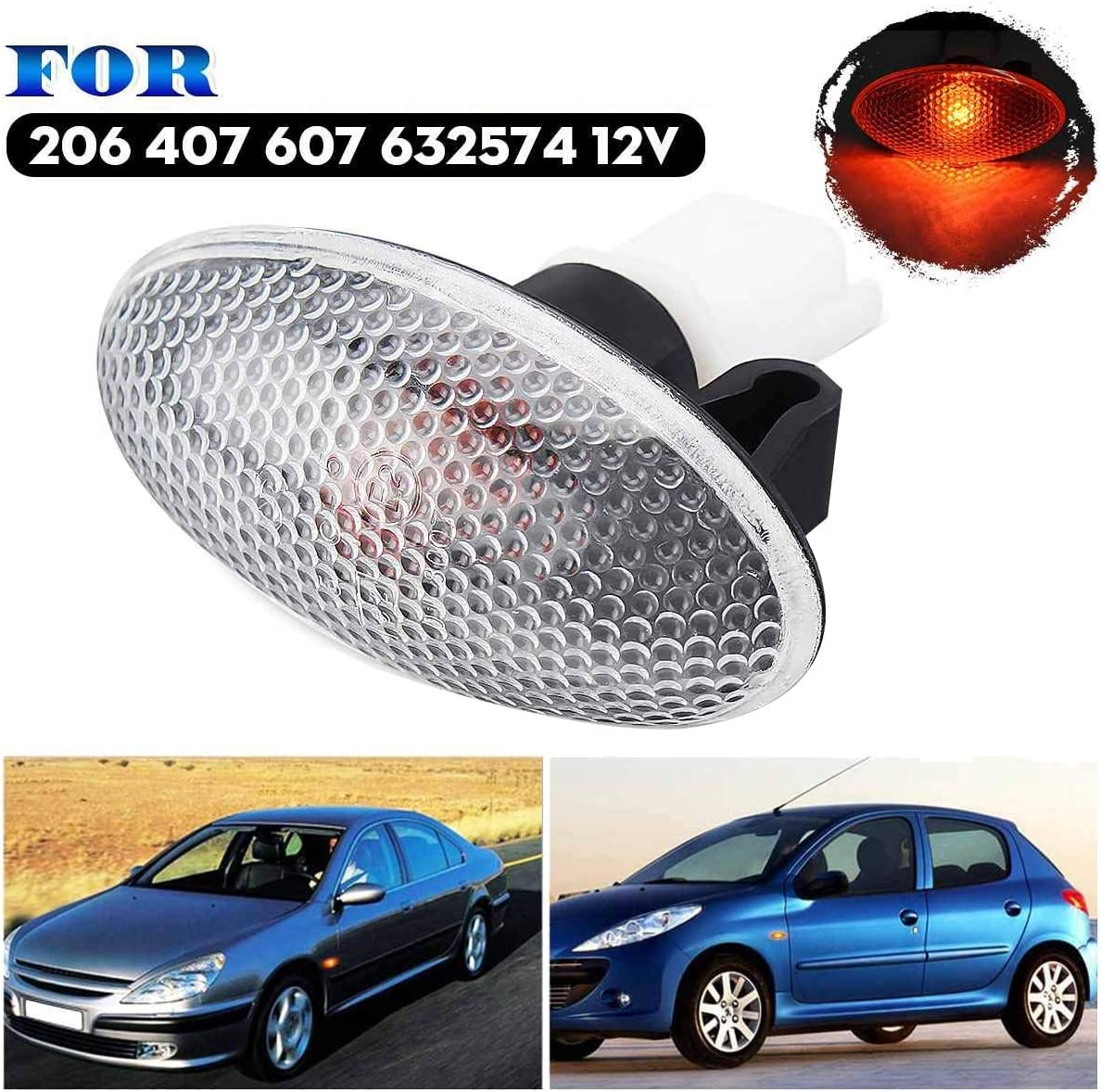 PQZATX 632574 Clignotant C?T/é Feu de Rep/èRe Feu R/éP/éTeur Indicateur de Lampe pour 206407607