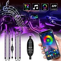 UALAU 72 LED Interior Car Lights, USB Car LED Lights APP Controller Party Light Bar Sync to Music, Multi DIY Color Under…