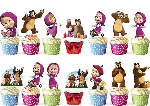 48 Masha y el oso cumpleaños Cup Cake Decoración comestible ...