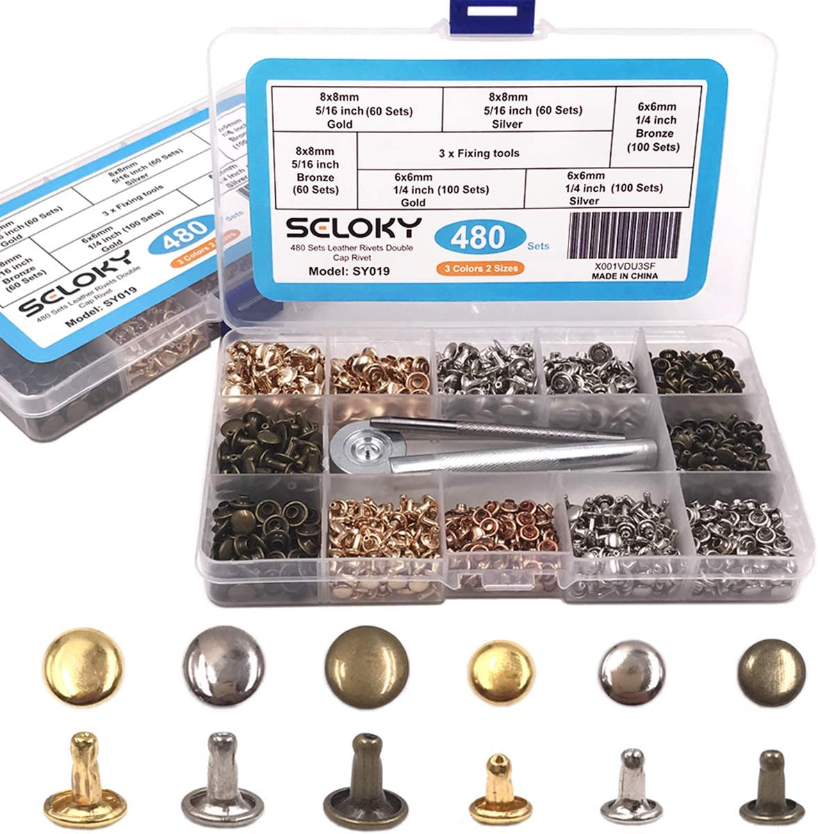 Seloky 480 Sets Leather Rivets Double Cap Rivet Tubular 3 Colors 2 Sizes Metal Studs with Fixing Tools for DIY Craft//Clothes//Shoes//Bags//Belts Repair and Decoration