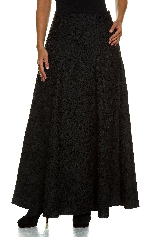 Ulla Popken Women's Plus Size Festive Long Pleated Skirt Black 12 707096 10