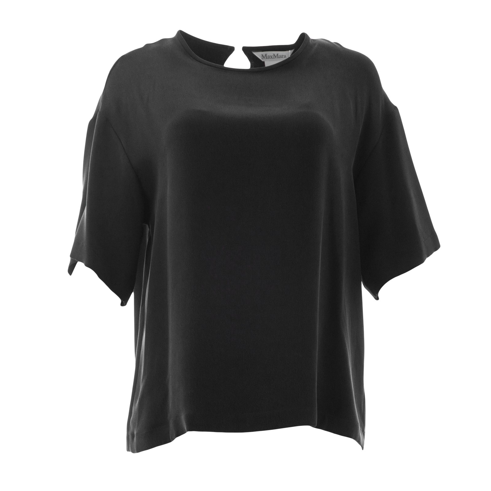 Max Mara Women's Finezza Oversized Silk Top Sz 10 Black