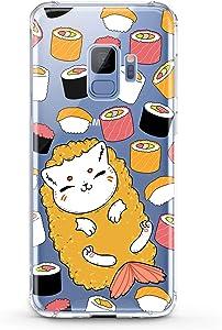 Anreda TPU Case Compatible with Samsung Galaxy J8 J7 Prime J6 Plus J5 J4 Core J2 Smooth Print Food Women Design Cat Sushi Pattern Kids Kawaii Fish Slim fit Cover Gift Cute Soft Flexible Girls Clear