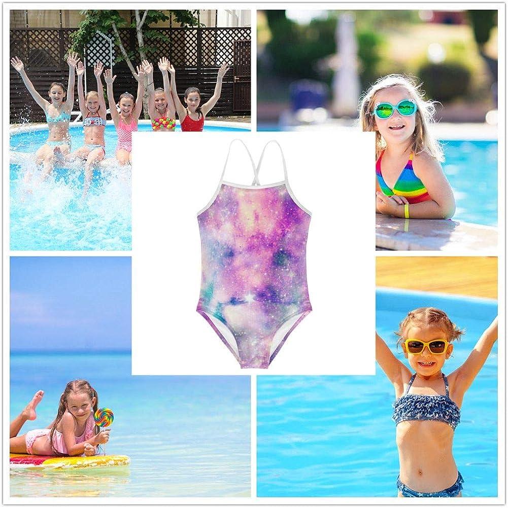 KiuLoam Cream Cute Unicorn Twinkle Star Girls Swimwear One Piece Swimsuits Bathing Suit for 3-8 Years Baby Girl
