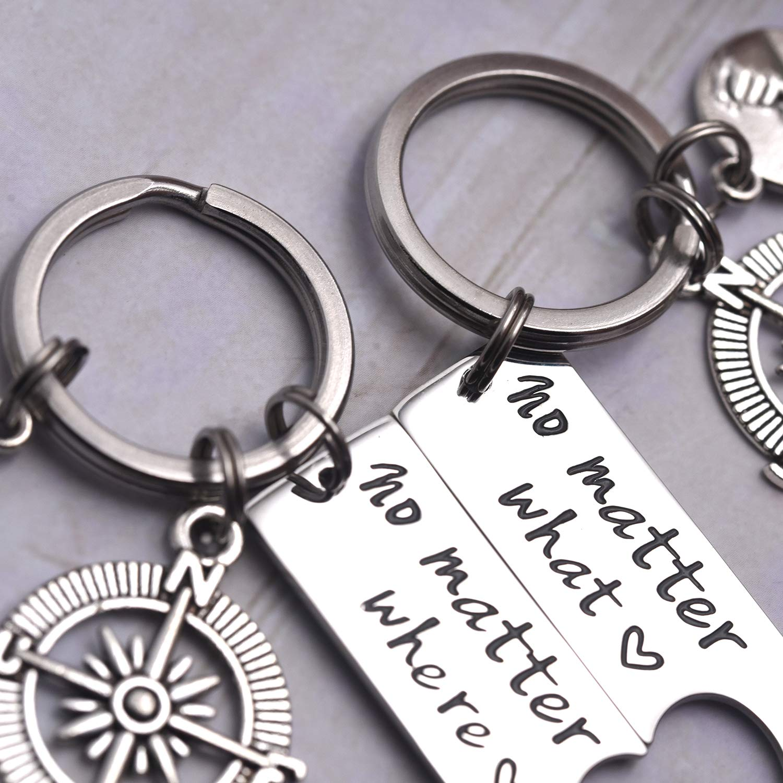 LParkin No Matter What No Matter Where Keychain Best Friend Long Distance Friendship Relationship Gift Polished Finish Set of 2