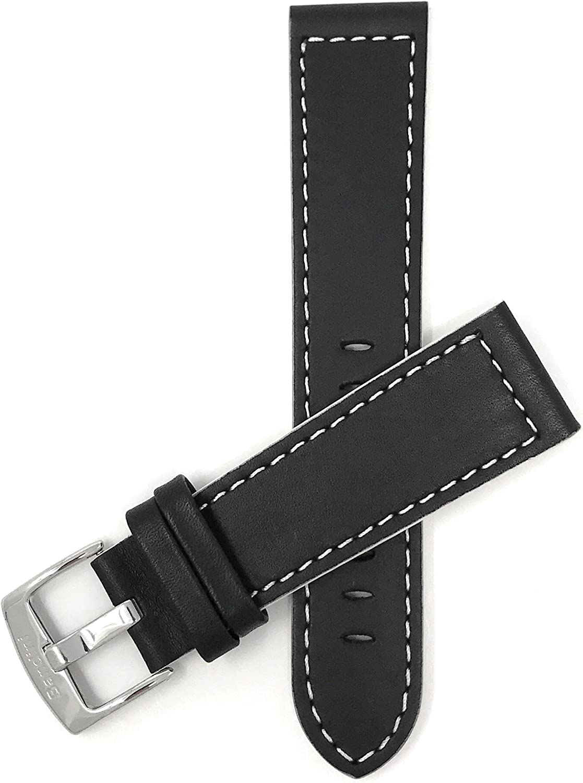 Reloj de Pulsera Banda de Cuero, Racer, 24mm, diseño con Pespuntes Blancos, Color Negro