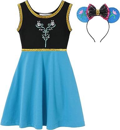 MUABABY Girls Rapunzel Dress Up Kids Snow White Princess Costume Children