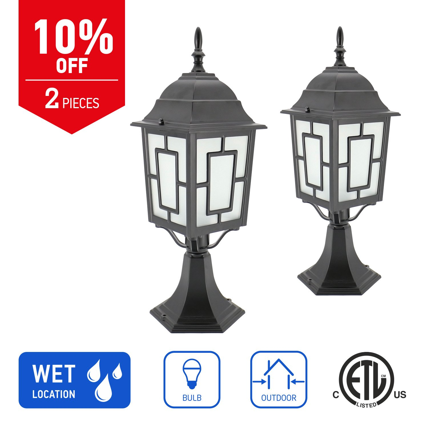 IN HOME 1-Light Outdoor Garden Post Lantern L05 Lighting Fixture, Traditional Post Lamp Patio with One E26 Base, Water-Proof, Black Cast Aluminum Housing, Frosted Glass Panels, (2 Pack) ETL Listed