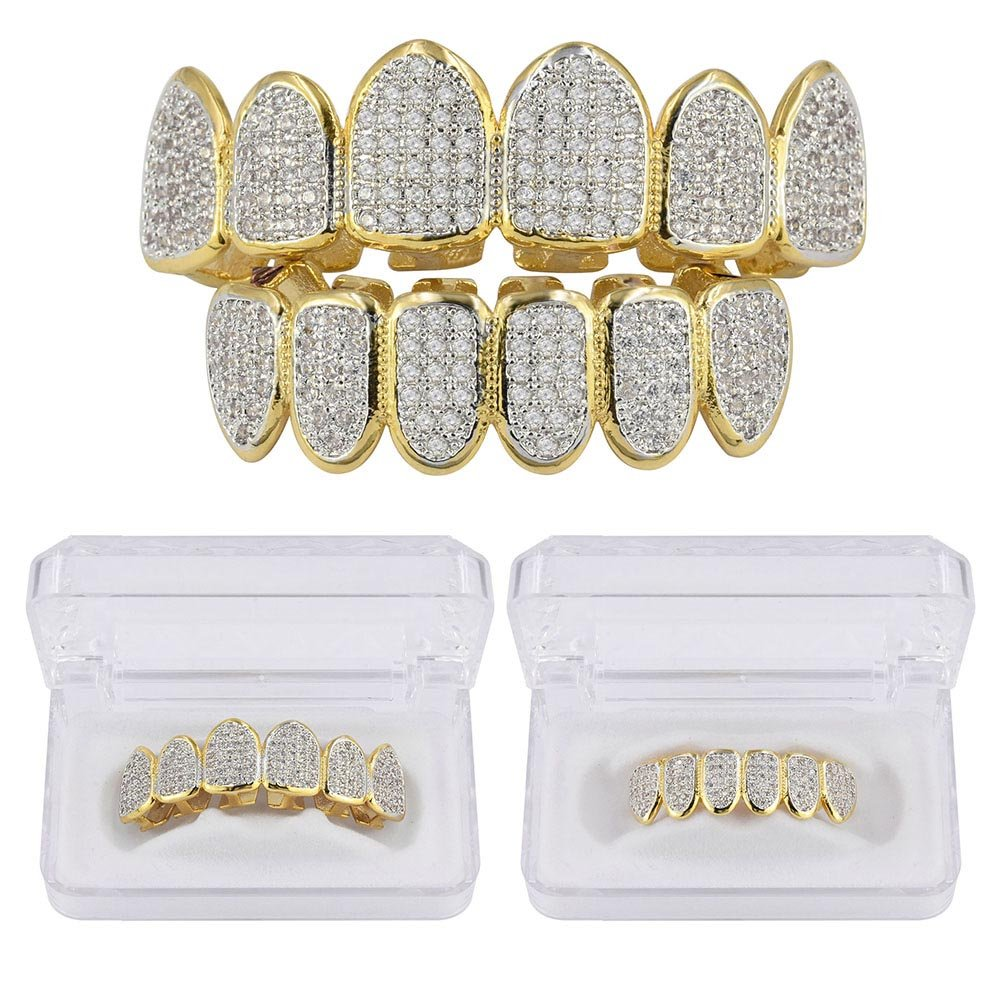 JINAO 18k Gold Plated All Iced Out Luxury Rhinestone Gold Grillz Set with Extra Molding Bars Included (Classic Set) by JINAO (Image #4)