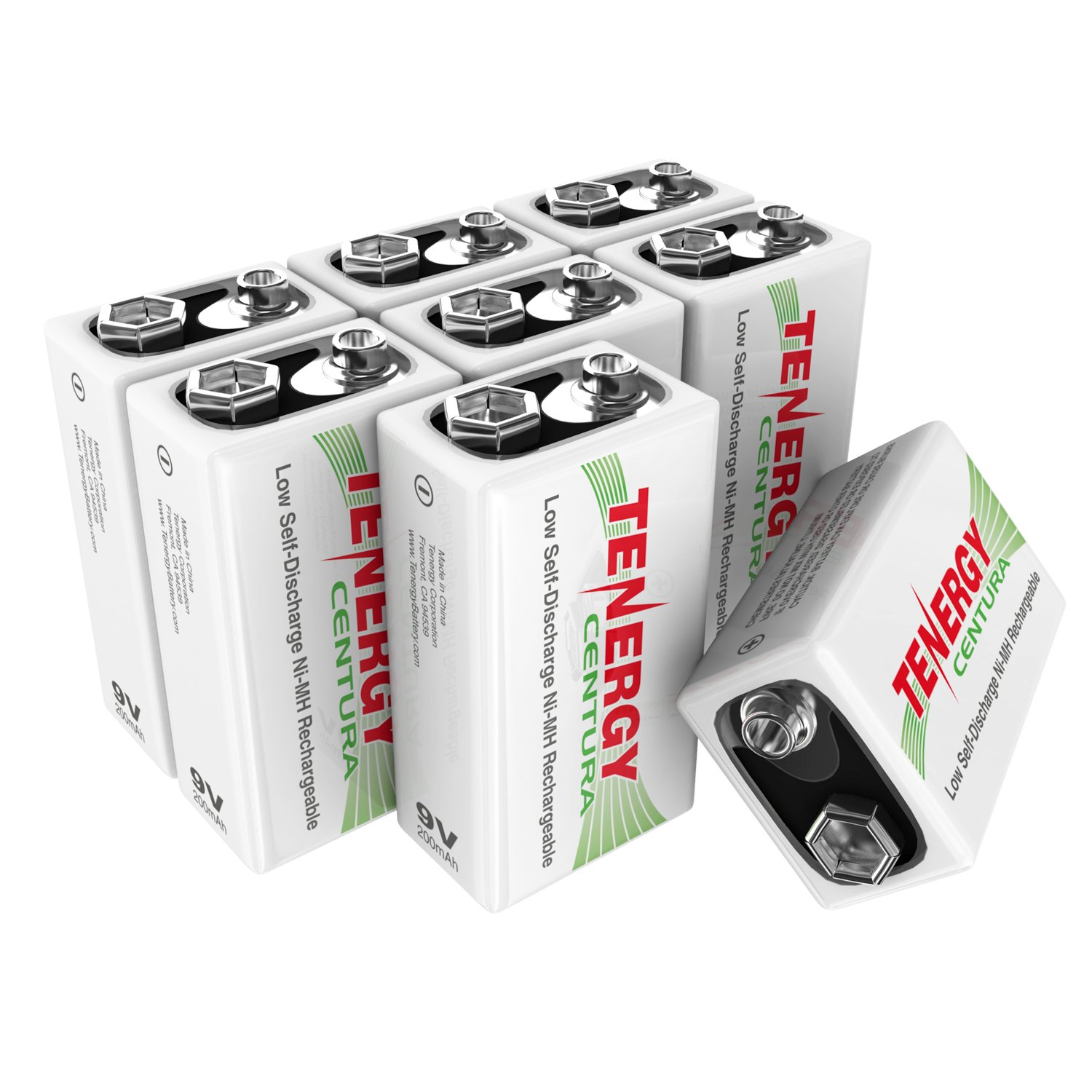 Tenergy9V NIMH Rechargeable Batteries,200mAh Low Self-DischargeSquare Battery for Smoke Alarm/Detector (8 PCS)