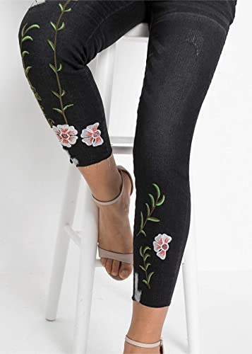 bonprix piękne dżinsy z czarującym haftem i efektami używania, dla kobiet: Odzież