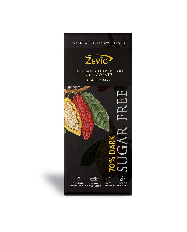 Zevic 70% Belgian Sugar Free Dark Chocolate with Stevia 40 Grams - Sweetened with Stevia