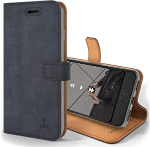 Snakehive Vintage Wallet for Apple iPhone 7 Plus || Real Leather Wallet Phone Case || Genuine Leather with Viewing Stand & 3 Card Holder || Flip Folio Cover with Card Slot (Navy)