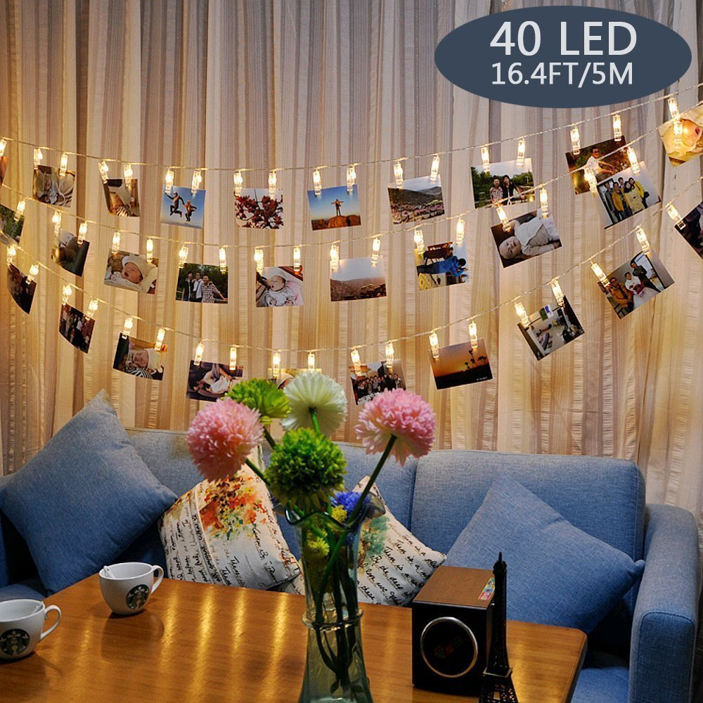 Tomshine 16.4ft LED Photo Clip String Lights 40 LED Battery Powered for Home Party Decor 3 AA batteries not provided
