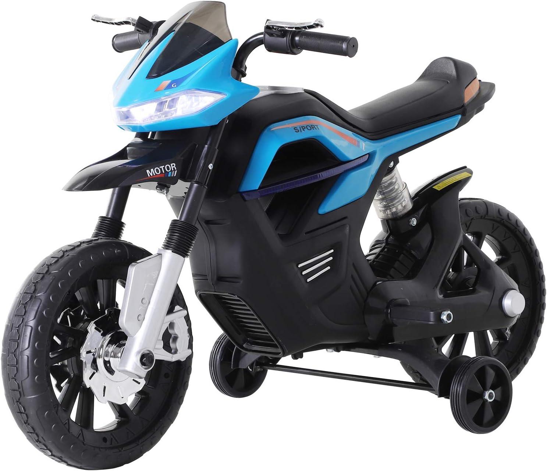 HOMCOM Moto Eléctrica para Niños 3+ años Moto de Juguete Infantil Batería 6V con Luces y Música 105x52.3x62.3cm