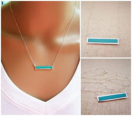 Minimalist Turquoise Bar Sterling Silver Bar Necklace best minimalist jewelry