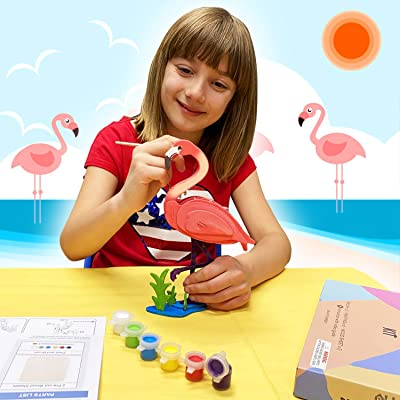 Hands Craft DIY Wooden Puzzle with Paint Kit Flamingo
