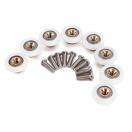 Surepromise Set of 4 Zinc Alloy Twin Shower Door Rollers Runners Wheels Pulleys 25mm Wheel Diameter Top Bottom Bathroom Replacement Parts
