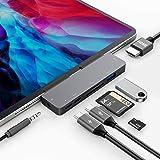 """USB C Hub para iPad Pro 2020 2018 11""""/12.9"""",7 en 1 Hub con USB C a HDMI 4K,Puerto De Conector De Audio 3.5mm,USB 3.0, USB Tip"""